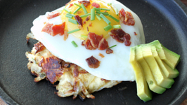 Bacon, Sourcream, Chive Potato Cake with Fried Egg