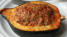 Delicious Squash Stuffed with Lamb Sausage & Rice