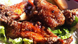 Chicken Wings with Mandarin, Raisin, BBQ and Melted Swiss