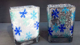 Snowflake Votive Holder Winter Craft Dollar Store Makeover
