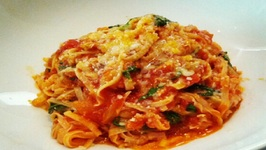 Fettuccine with Cheese, Tomatoes and Italian Sausage