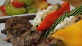 Grilled Lamb Medallions with Stuffed Bell Peppers