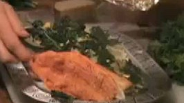 Baked Trout with Rice and Greens