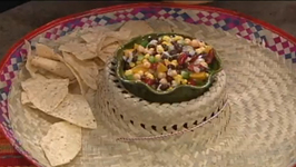 Peach and Bean Salsa with Tortilla Chips