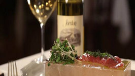 A Perfect Pairing: Smith & Wollensky Tuna Crudo on Himalayan Salt Block and Jordan Chardonnay