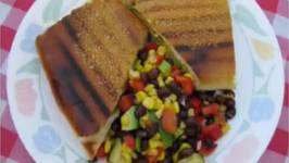 Pressed Cuban Sandwiches with Paulette's Cuban Cowboy Caviar Salad