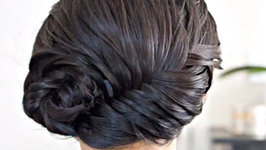 Asymmetrical French Fishtail Braid Updo Tutorial
