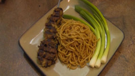 My Breville Smartgrill Grilled Sweetbreads In An Asian Pesto Sauce With Garlic Sesame Noodles