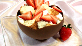 Angel Food Cake, Ermine Icing, and Chocolate Bowls