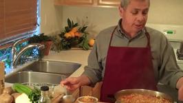Tasty red lentil and mushroom soup