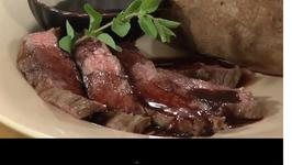 Grilled Flat Iron Steaks with Pomegranate Wine Sauce