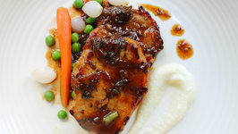 Balsamic Glazed Pork Chops with Cauliflower Puree recipe