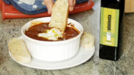 Goat Cheese in Marinara Sauce Dip with Toasted Bread