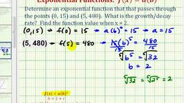 Ex:  Find an Exponential Growth Function Given Two Points - Initial Value Given