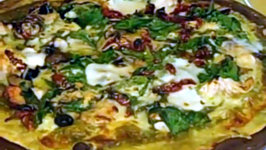 White Pizza with Garlic Chicken Spinach and Sun-Dried Tomatoes