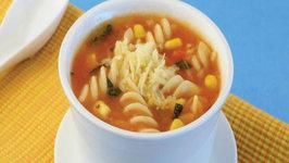 Corn and Fusilli Soup by Tarla Dalal