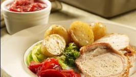 Roast Pork Loin with Plum Ginger Chutney Cabbage and Potatoes