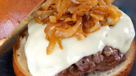 Bacon and Swiss Burger with Caramelized Onions