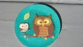 Owl Sticker Glitter Coaster - Another Coaster Friday