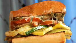 Fire Roasted Ratatouille Sandwich a Roasted Garlic Aioli and Fresh Cut Watermelon