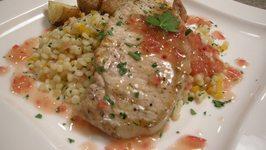 Grilled Pork Chops w/Tokaji Wine Reduction Sauce, Couscous Salad & Roasted Potatoes