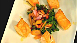 Crispy Skuna Bay Salmon with Pickled Vegetable Herb Salad