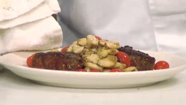 Spice Crusted Steak with Cherry Tomato and White Bean Saute