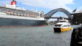 Cunard Queen Mary 2 QM2 in Sydney Australia - plus sail out