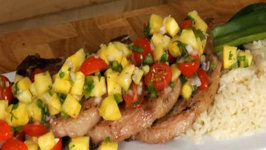 Roasted Pork Chops with Tropical Salsa and Jasmine Rice