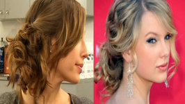 Messy Updo Hairstyles - How to Do Taylor Swift's Messy Side Swept Updo Look