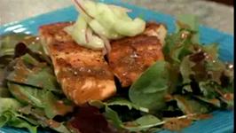 Seared Salmon on Cucumber Salad