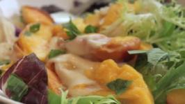 Flaming Caprese Salad with Peaches, Mozzarella and Bourbon