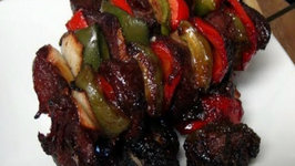 Kalbi Marinated Beef Kabobs in the Pit Barrel