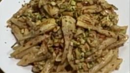 Richard Blaine's EZ Cooking: Pasta Con Pancetta, Carciofi, Gorgonzola E Pistachhi