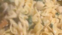 Creamy Chicken and Mushroom Florentine with Egg Noodles