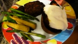Pseudonympho Half Baked Sweet Potatoes w/ Chipotle Marinated Steaks and Vegetables
