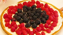Berry Fruit Pizza with Blackberry and Raspberry for 4th July