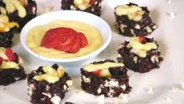 Black Rice Fruit Nori Rolls with Mango Sauce