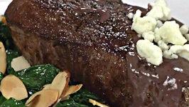 Blackened Steak and Blue Cheese Wine Sauce with Gabbiano Chianti