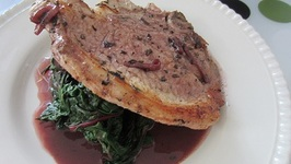 Pork Chops with Red Wine Sauce and Winter Greens