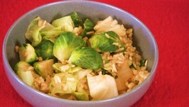 Creamy Risotto with Brussel Sprouts and Cabbage
