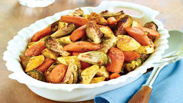 Roasted Brussels Sprouts, Carrots and Parsnips with Savory Finishing Sauce