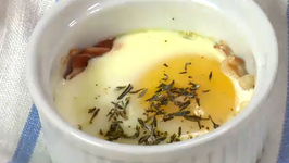 Baked Eggs with Prosciutto and Herbs