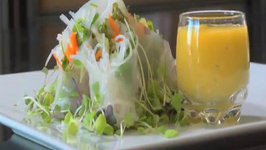 Shrimp Spring Rolls with Mango Basil Dipping Sauce