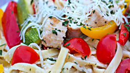 Chicken Vegetable Fettuccine Alfredo - Home Date Night!