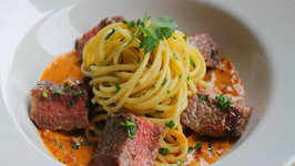 Spaghetti With Rib Eye Steak, Sun Dried Tomato and Mustard Veloute