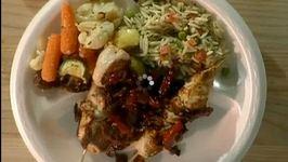 Vegetable Salad, Orzo Salad and Chicken with Tuscan Salsa