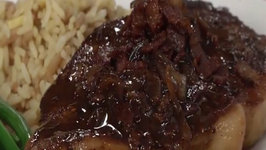 NY Strip Steak and Bacon BBQ Bacon Glaze with BV Cabernet Sauvignon
