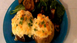 Twice Baked Potatoes with Prawns, Gruyere, and White Truffle Oil