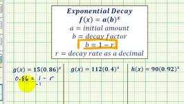 Ex: Find the Initial Value and Exponential Growth or Decay Rate Given an Exponential Function